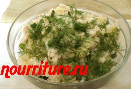 Картофельный салат с солёной треской