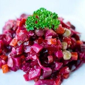 Винегрет с хеком, минтаем или треской и зелёной фасолью