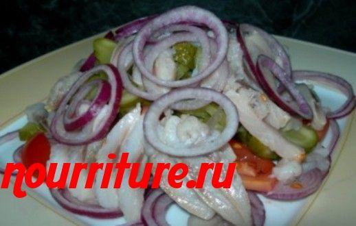 Салат из сельди с помидорами