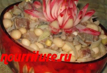 Салат из сельди с фасолью и яблоками