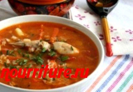 Суп рисовый с томатом и мясом (птицей) или рыбой