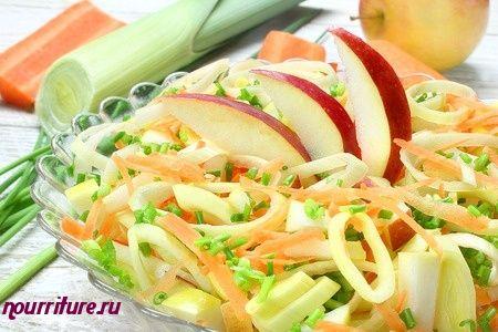 Салат из порея и яблок с майонезом
