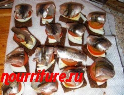 Бутерброды канапе с кильками, анчоусами или солёной сельдью