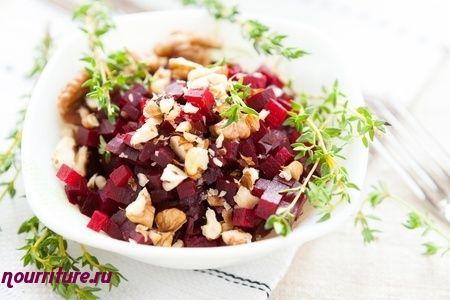 Постный салат из свёклы с грецкими орехами