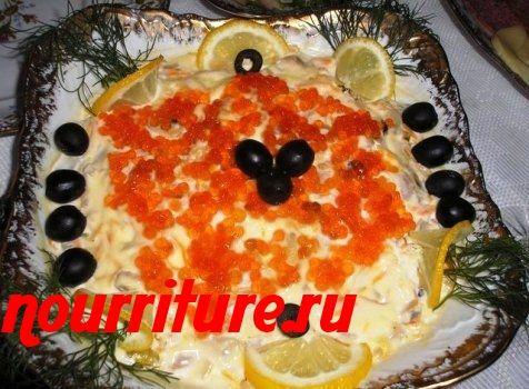 Салат из рыбы с помидорами и картофелем