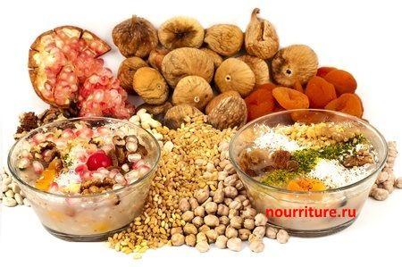 Орехи, листья, сухофрукты