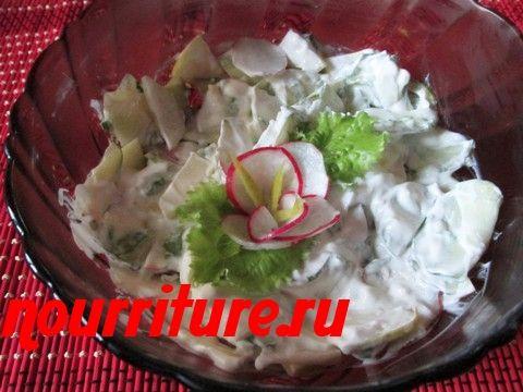Салат летний с копчёной сельдью или скумбрией