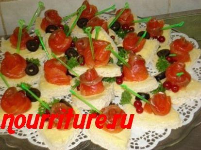 Бутерброды канапе с сардинами или солёной сёмгой