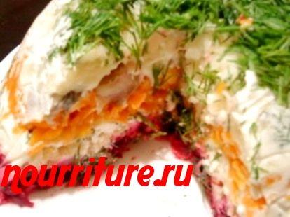 Салат слоёный с сельдью