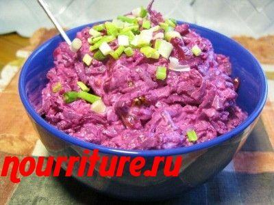 Винегрет с солёной  скумбрией или ставридой по-украински