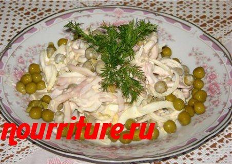 Салат из кальмаров с картофелем