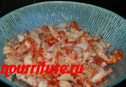 Консервированные раковые шейки в томатном соусе (или крабы) с рисом