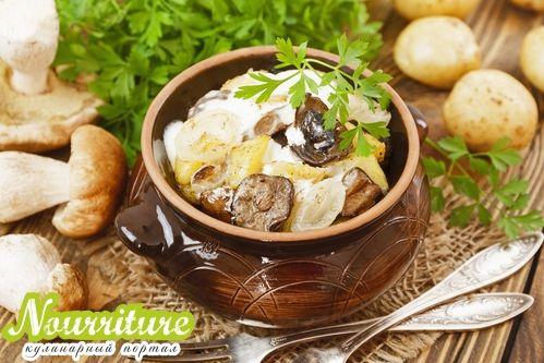 Постная тушёная картошка с грибами